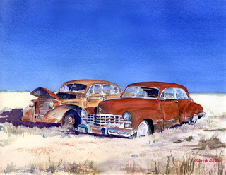 Painting of old cars on beach by Geri Gaskill