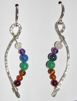 chakra curve silver earrings by Susan Gist with gemstones