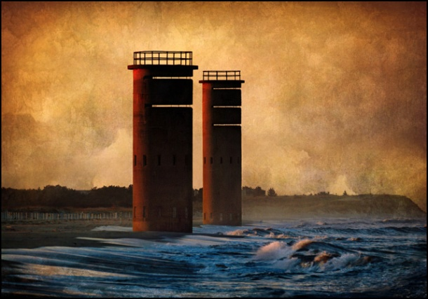 Cape Henlopen Towers with Waves (textured) by Kevin Fleming