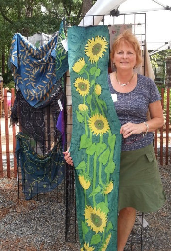 Diane Keesee with some of her beautiful silk painting at the 2013 Outdoor Show