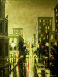 oil painting of downtown Baltimore by Gene Gregorio