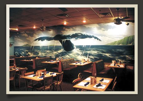Humpback Whale Mural at Shooters Restaurant in Fort Lauderdale, FL ~ by Damon Pla
