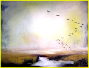 painting called The Flight, by Michelle Marshall
