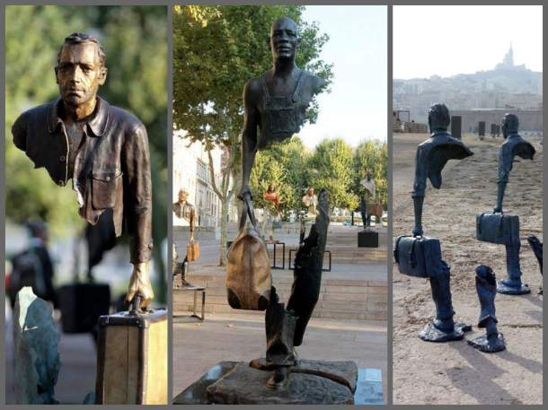 """Surrealist sculptures by French artist Bruno Catalano for his """"Traveler's"""" series."""
