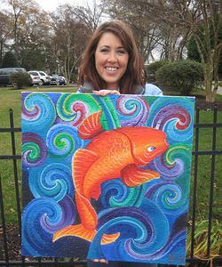 Raleigh artist Jamie Lynn Moore creates paintings for Healing Ceilings in NC.