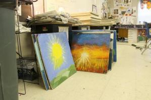 Students' tiles in Molly Layton's classroom at Neuse Charter School in NC. Photo by Paula Seligson of newsobserver.com