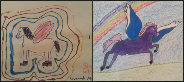 Before & After Artwork by 7th Grade Arts Outreach Participant, Savannah M.
