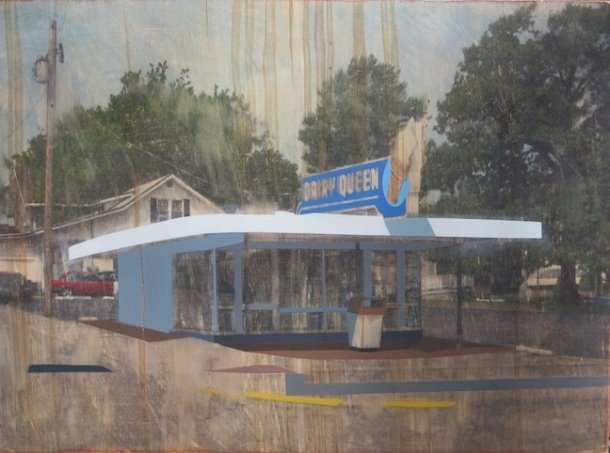 """Temporal, Dairy Queen,"" by David Linneweh, 2014. Transfer, oil, and graphite on panel."