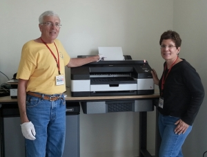 CCC members & Print Studio monitors John Roecker and Leslie Sinclair have been working hard to get the Studio ready for the opening.